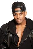 一个英俊的黑人的画象有帽子的 黑色衣裳 可利用的PNG 免版税图库摄影