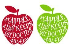 一个苹果每日,向量 免版税库存照片