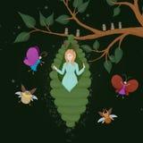 一个茧的诞生公主甲虫和蝴蝶 神仙和公主的出现 一个小森林若虫出生 库存图片