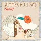 一个草帽的背景女孩有花的 您系列节日快乐的夏天 也corel凹道例证向量 免版税库存图片