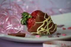 一个草莓用棕色和白色巧克力 免版税图库摄影