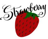 一个草莓的例证与字法的 库存照片