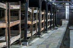一个营房的内部奥斯威辛比克瑙集中营的在波兰 免版税库存照片