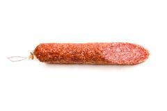一个蒜味咸腊肠香肠 库存图片