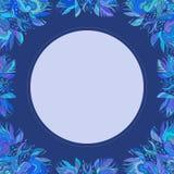 一个蓝色花饰框架 库存图片