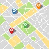 一个虚构的城市的城市地图有四个别针的 库存图片