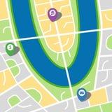 一个虚构的城市的城市地图有河和三个别针的 图库摄影