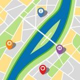 一个虚构的城市的城市地图有河和四个别针的 图库摄影