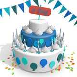 一个蛋糕 庆祝一个新出生的男孩的诞生 库存图片