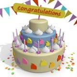 一个蛋糕 庆祝一个新的家 免版税库存图片