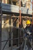 一个被动房子的墙壁的建筑 免版税库存照片