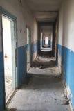 一个被放弃的大厦的走廊 免版税库存照片