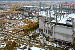 一个被放弃的建造场所的顶视图 图库摄影