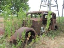 一个被放弃的20世纪30年代车身在得克萨斯 免版税库存图片