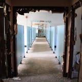 一个被放弃的医院收容所的蓝色走廊 库存图片