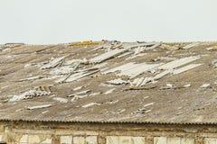 一个被毁坏的农业大厦的老石棉水泥屋顶 图库摄影