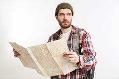 一个被集中的有胡子的人的画象格子花呢上衣的 库存图片