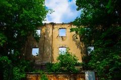 一个被破坏的大厦的墙壁与窗口的 免版税库存照片