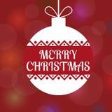 一个装饰球的一个方形的传染媒介图象与圣诞快乐文本的 与梯度的红色bokeh背景 向量例证