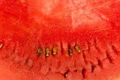 一个西瓜的红色背景纹理与黑种子的 切的背景剪切果子半菠萝 库存照片