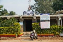 一个警察局在Vijayanagara帝国,亨比,卡纳塔克邦,印度古老被破坏的市场  库存照片