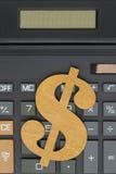 一个计算器的特写镜头有美元的符号的 图库摄影