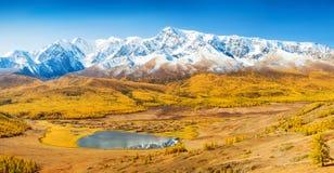 一个谷的一个湖在积雪的山脉下 阿尔泰, R 免版税库存图片