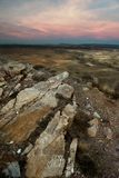 一个谷的风景在日落的 免版税库存照片