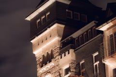 一个象城堡的大厦的一个历史的门面 图库摄影