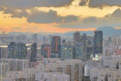 一个贸易、事务和工业区在香港 库存照片