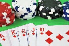 一个赌博娱乐场-模子,芯片的图象,赌博-有拷贝空间的 免版税库存图片