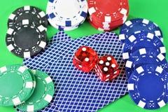 一个赌博娱乐场-模子,芯片的图象,赌博-有拷贝空间的 库存图片