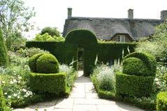 一个赤柏松修剪的花园规则式园林的入口在英国 免版税库存照片