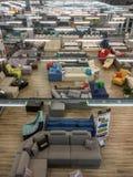一个超级市场的内部家具销售的,顶视图 库存图片