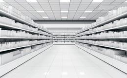 一个超级市场的内部有架子的物品的 库存图片