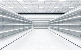 一个超级市场的内部有架子的物品的 图库摄影