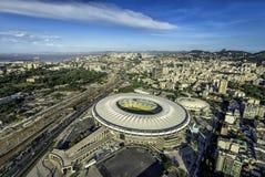 一个足球场马拉卡纳体育场的鸟瞰图在里约热内卢 免版税库存图片