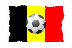 一个足球的一个美好的概念反对旗子背景的 免版税库存照片