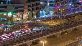 一个路交叉点的鸟瞰图一大城市夜timelapse的 股票视频