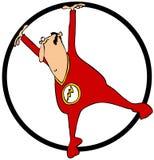 一个转动的圆环的马戏团演员 免版税库存图片