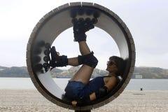 一个轮子的溜冰者在里斯本 库存照片