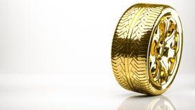 一个轮子的金黄3d翻译在演播室里面的 免版税库存图片