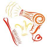一个运转的吹风器、一把梳子有心脏的和一个冠prin的 库存例证