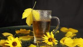 一个透明玻璃杯子是湿的在热的茶中雨在秋天风景中间:被染黄的落叶,黄色花 股票视频