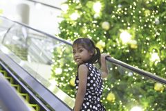 一个逗人喜爱的亚裔女孩享用与圣诞灯 免版税库存照片
