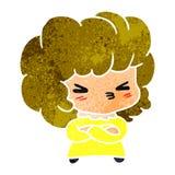 一个逗人喜爱的发怒kawaii女孩的减速火箭的动画片 皇族释放例证