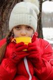 一个逗人喜爱的女孩的画象盖帽的和夹克和一杯茶 库存图片