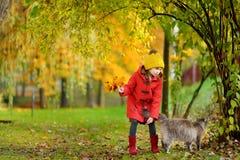一个逗人喜爱的小女孩和她的宠物猫的画象在美好的秋天天 免版税库存照片