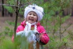 一个逗人喜爱的小女孩在秋天时间的一个杉木森林里 库存照片