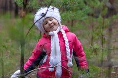 一个逗人喜爱的小女孩在秋天时间的一个杉木森林里 免版税库存图片